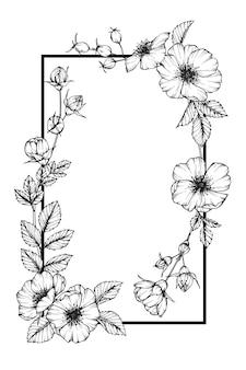 카드 디자인을위한 장미 꽃 프레임 드로잉 그림