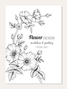 장미 꽃 프레임 드로잉 그림입니다.
