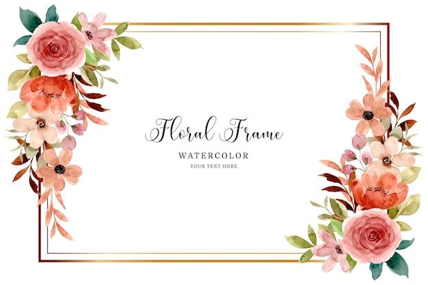 수채화와 장미 꽃 프레임