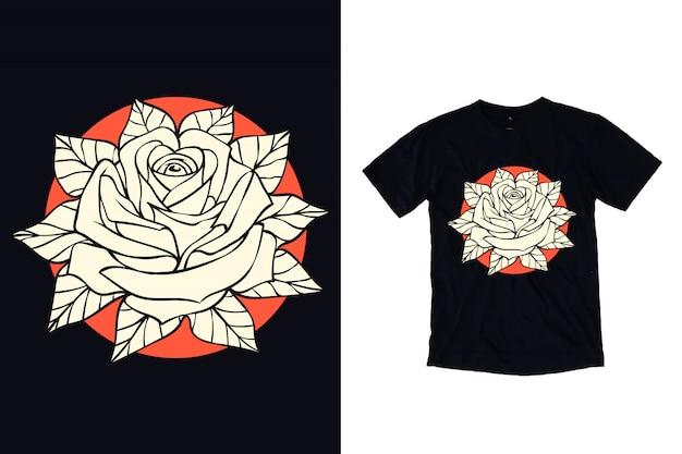 Tシャツのバラの花のイラスト