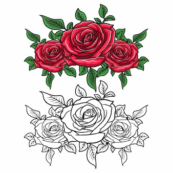 장미 꽃, 라인 아트, 빈티지 장미, 꽃 장식