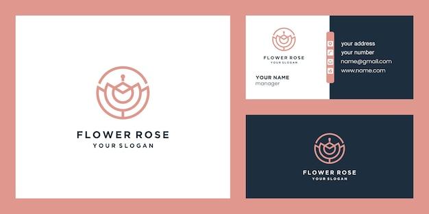 Роза цветок логотип и дизайн визитной карточки