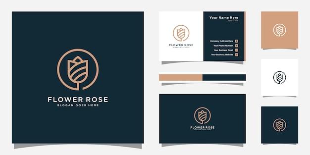 Дизайн логотипа цветок розы и дизайн визитной карточки