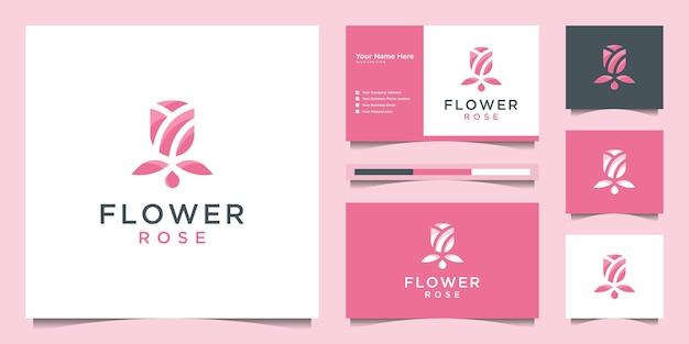 バラの花のロゴのデザインと名刺