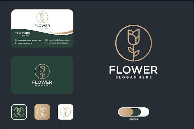 Роза цветок логотип дизайн круг и визитная карточка