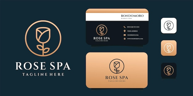 Rose flower logo design inspiration with business card template.