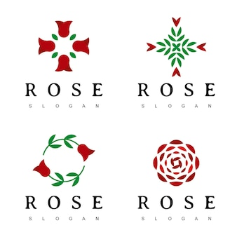 장미 꽃 로고 디자인 서식 파일