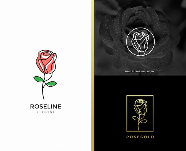 Rose flower logo design template