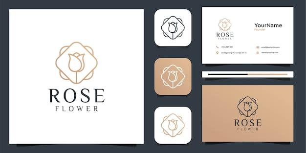 バラの花のロゴイラストベクトルグラフィックデザイン。ブランド、アイコン、広告、装飾、フェミニン、名刺に最適