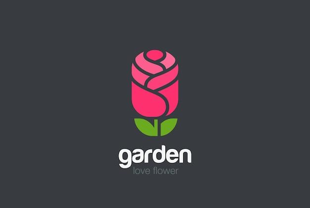 灰色で分離されたバラの花のロゴ