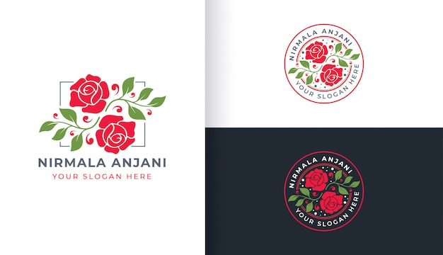 Rose flower logo with circle badge template