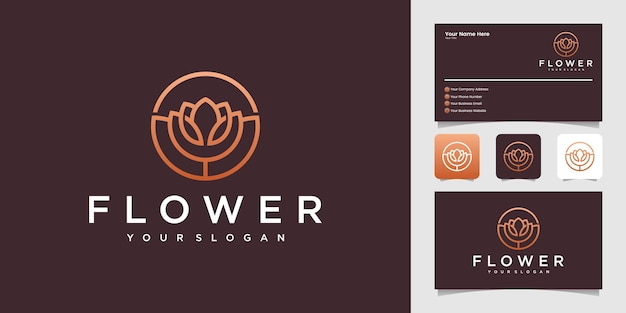 Rose flower logo with circle outline design template and business card