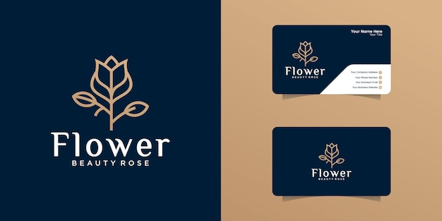 Rose flower logo with outline design template and business card