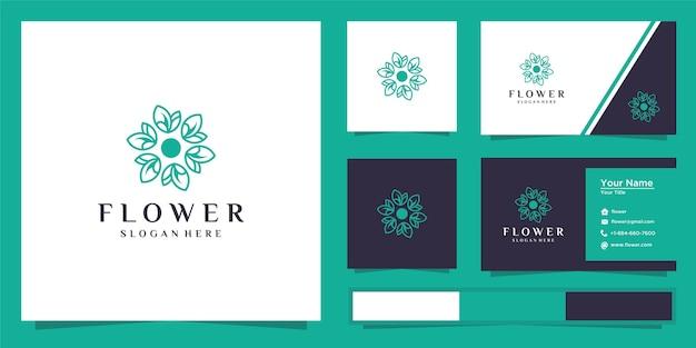 Rose flower outline logo design  and business card