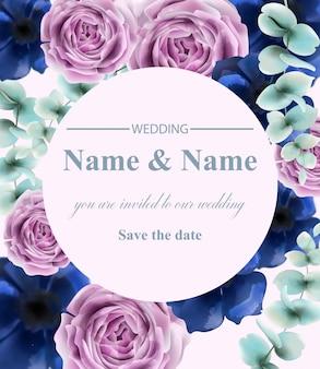 バラの花ラウンドカード水彩画。ヴィンテージレトロなスタイルの結婚式の招待状や挨拶