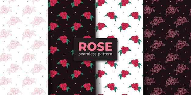 Rose flower seamless pattern collection