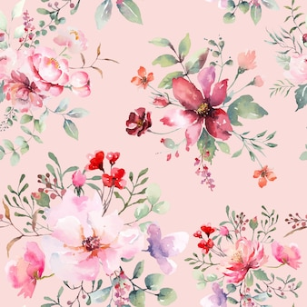 Rose flower seamless pattern pink pastel backgroud. illustration watercolor drawn.