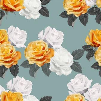 Rose flower seamless pattern vector illustration