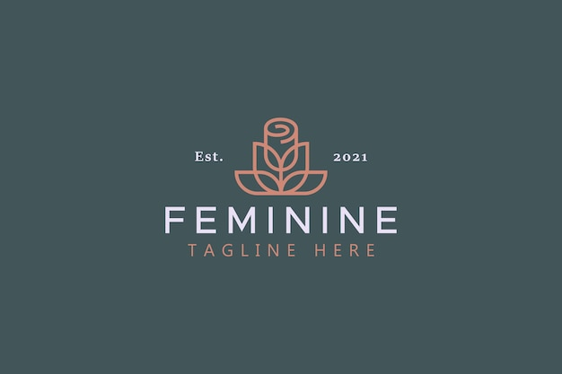 장미 꽃 간단한 기하학적 여성 상징 로고
