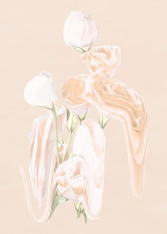 バラの花のステッカーベクトル、パステルホワイトトリッピーサイケデリックアート