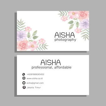 Rose flower watercolor business card template
