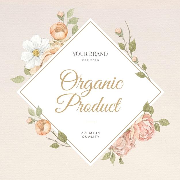 브랜딩, 기업 정체성, 포장 및 제품에 대한 장미 꽃 수채화 프레임 및 테두리.