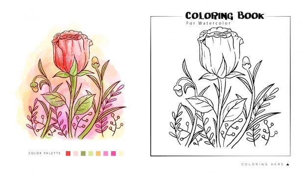 バラの花の水彩画のイラスト