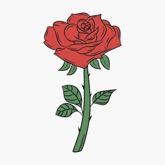 バラ、茎ととげのある花。赤い花びらと緑の葉のつぼみ。ベクトルイラスト。