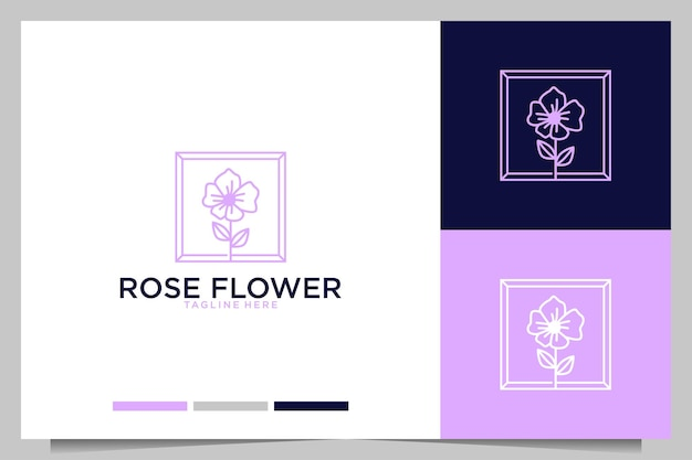 Роза цветок с рамкой женский дизайн логотипа