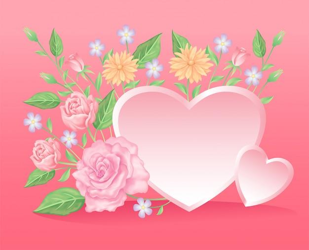 バラの花と葉の装飾は、バレンタインデーのイベントに適したハート要素を使用しています