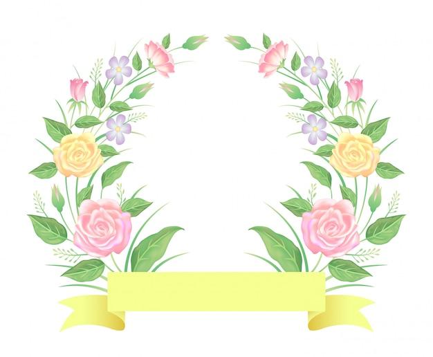 장미 꽃과 리본 템플릿 장식으로 나뭇잎 프리미엄 벡터
