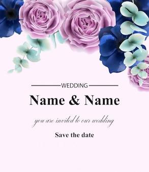バラの花カード水彩画。ヴィンテージレトロなスタイルの結婚式の招待状や挨拶