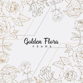 Rose flowers golden line art floral background design