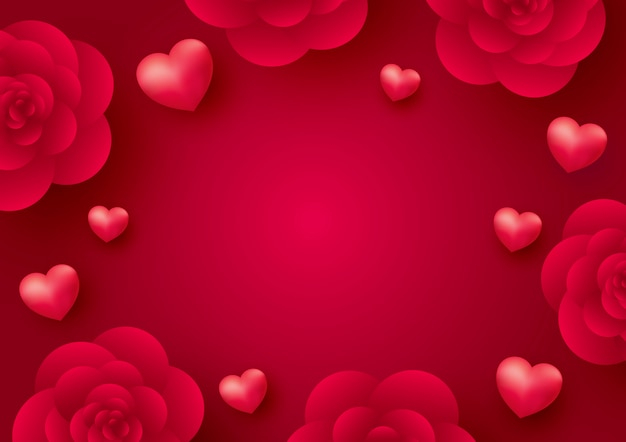 Rose flowers and hearts on red background