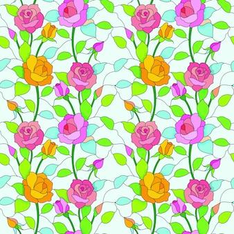 ステンドグラススタイルのシームレスなパターンのバラの花。