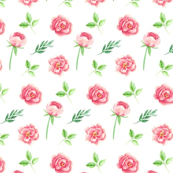 Rose flowers and leaves watercolor seamless pattern