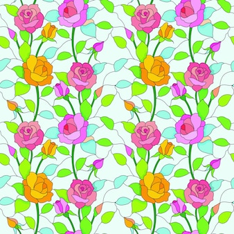 Rose flowers in stained glass style seamless pattern.