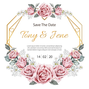 Rose flowers vintage wedding invitation card.
