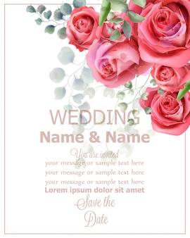 Rose flowers wedding card watercolor