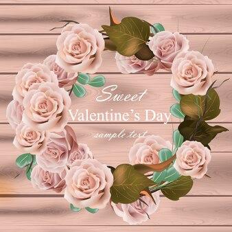 花の花輪は現実的なバラをバラ。繊細なピンクの花の丸いフレーム。バレンタインデーカード