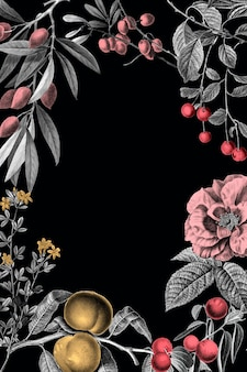 Роза кадр старинные цветочные векторные иллюстрации и фрукты на черном фоне