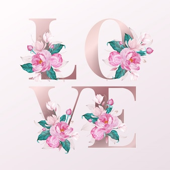 Rose gold alphabet letters decorated with flower watercolor style