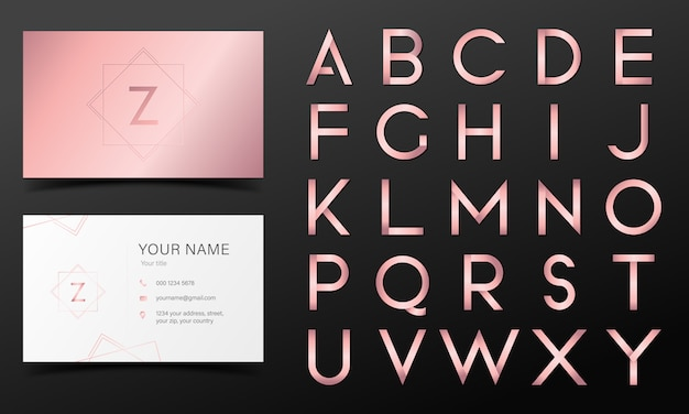 Rose gold alphabet in modern style