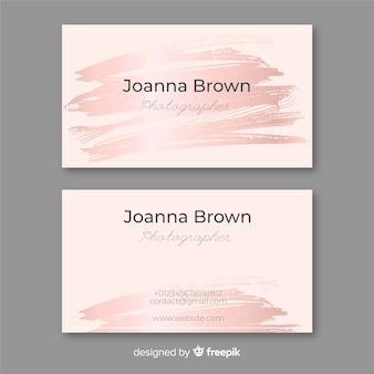 Rose gold brush stroke business card
