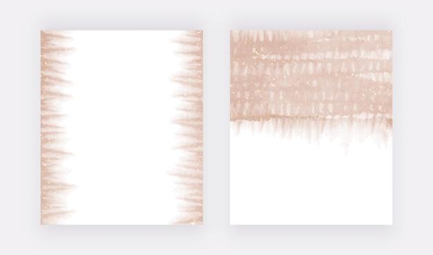 キラキラテクスチャとローズゴールドブラシストローク水彩スプラッシュ