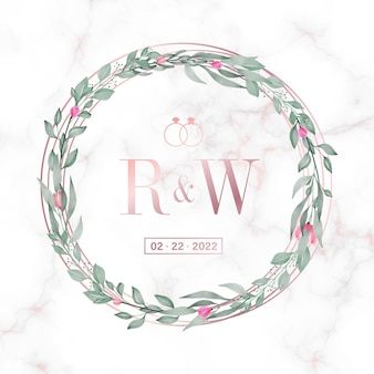 Rose gold circle frame with floral on marble  for wedding monogram logo and invitation card