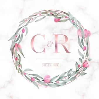 결혼식 모노그램 로고 및 초대 카드 대리석 배경에 꽃과 로즈 골드 원형 프레임