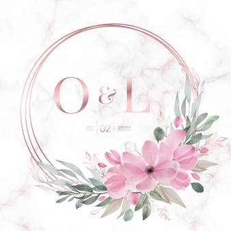 Рамка из розового золота с цветочным рисунком на мраморе для свадебной монограммы, логотипа и пригласительного билета