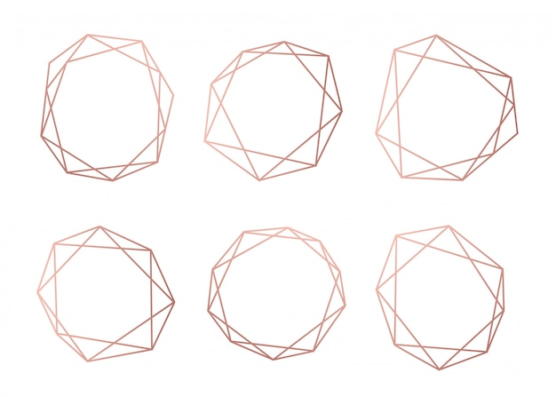 Rose gold collection of geometrical polyhedron
