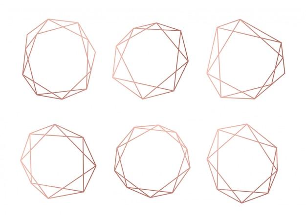 幾何学的な多面体のローズゴールドコレクション